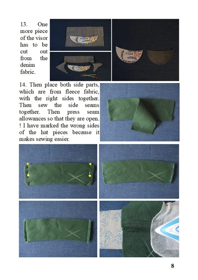 cadet-style hat/ visor fleece beanie/ lined winter chemo cap, sewing pattern pdf + photo tutorial, for woman and girl, (6 sizes)
