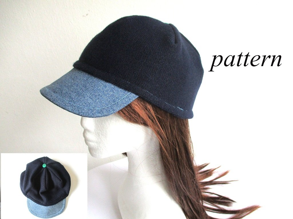 denim visor double layer jersey beanie / soft summer-fall hat / simple baseball cap, pdf sewing pattern and photo tutorial, adult to child, (6 sizes)