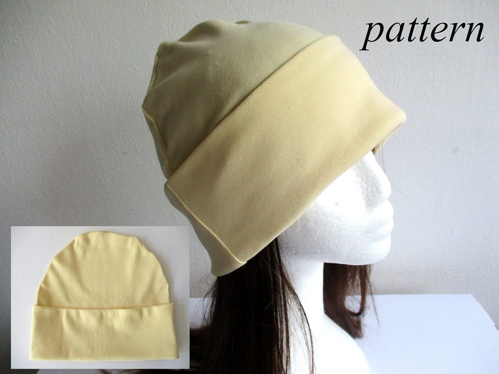 single layer roll up cuff cotton jersey beanie / summer skull cap / soft chemo hat, pdf sewing pattern and photo tutorial, adult to baby, (8 sizes)