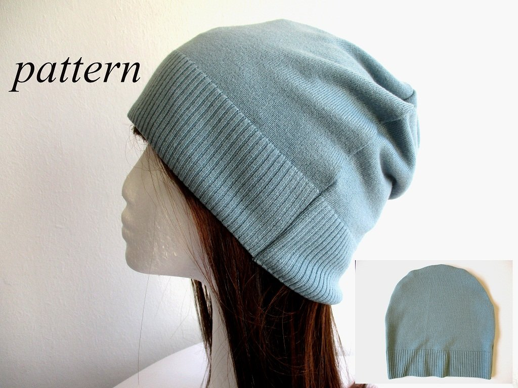 single layer summer-fall slouchy jersey beanie with the ribbed knit bottom edge, pdf sewing pattern and photo tutorial, adult to baby, (8 sizes)