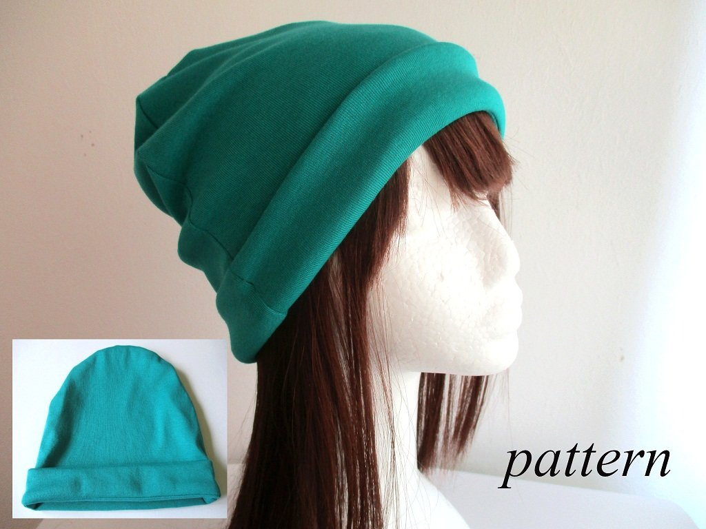 double layer cotton jersey beanie/ soft chemo head cover/ bad hair day hat/ cap with sewn roll-up cuff, pdf sewing pattern and photo tutorial, adult to baby, (8 sizes)
