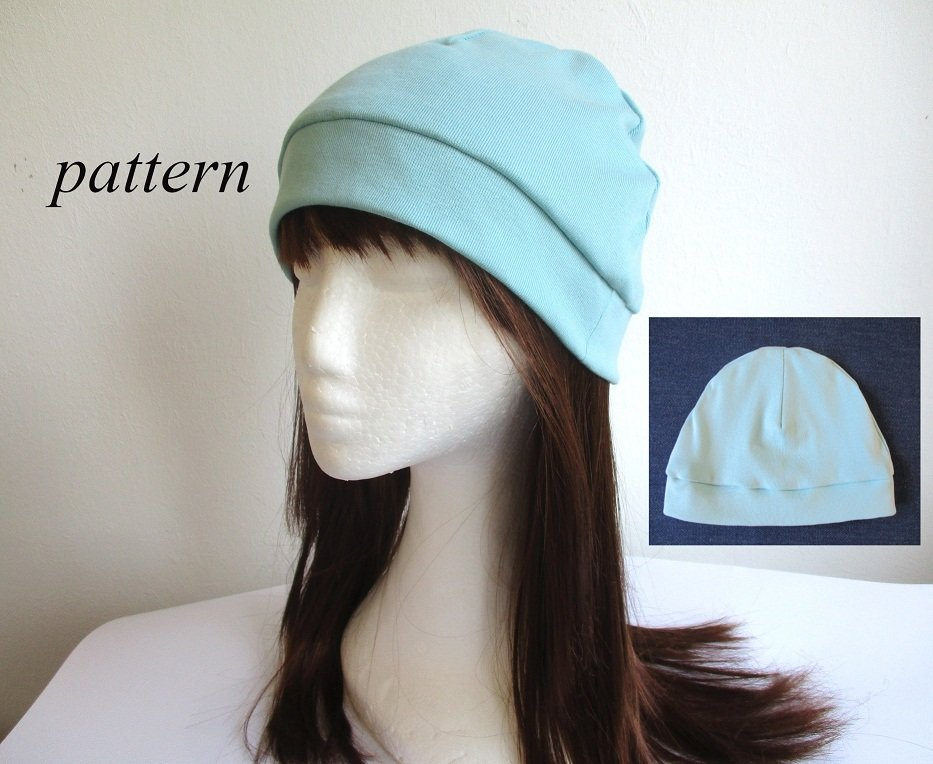 light summer jersey beanie with cuff/ single-layer cotton hat/ soft chemo head cover, pdf sewing pattern and photo tutorial, adult to baby, (8 sizes)