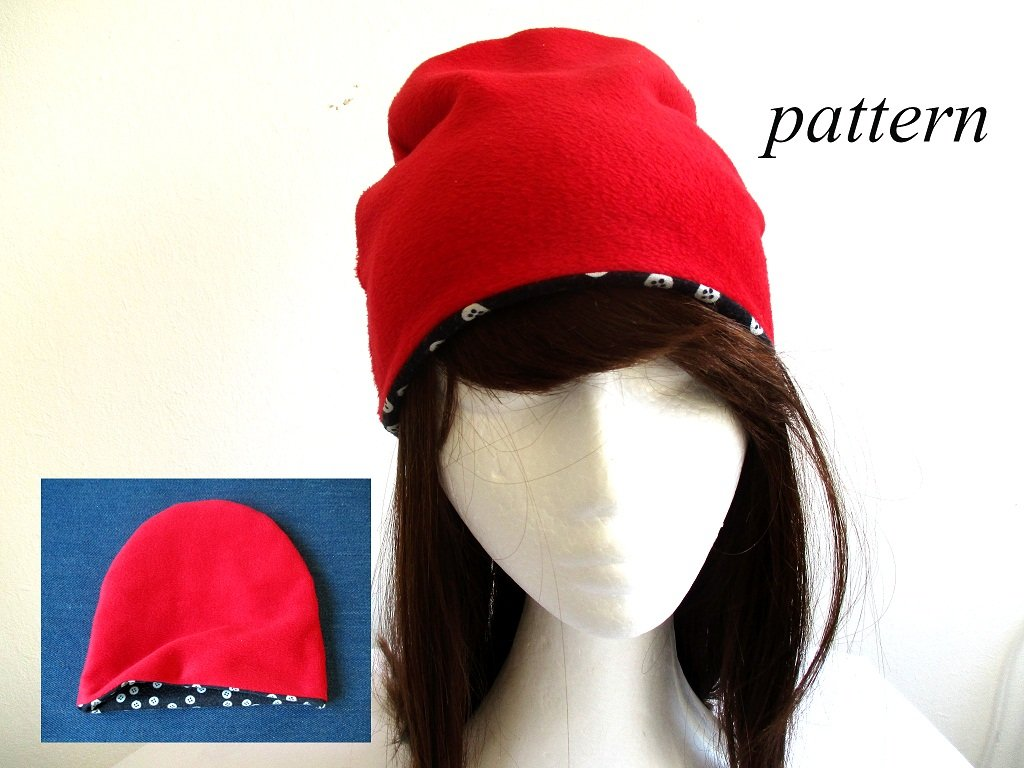 winter colored jersey-lined fleece beanie hat, pdf sewing pattern with a photo tutorial, adult to baby (8 sizes)
