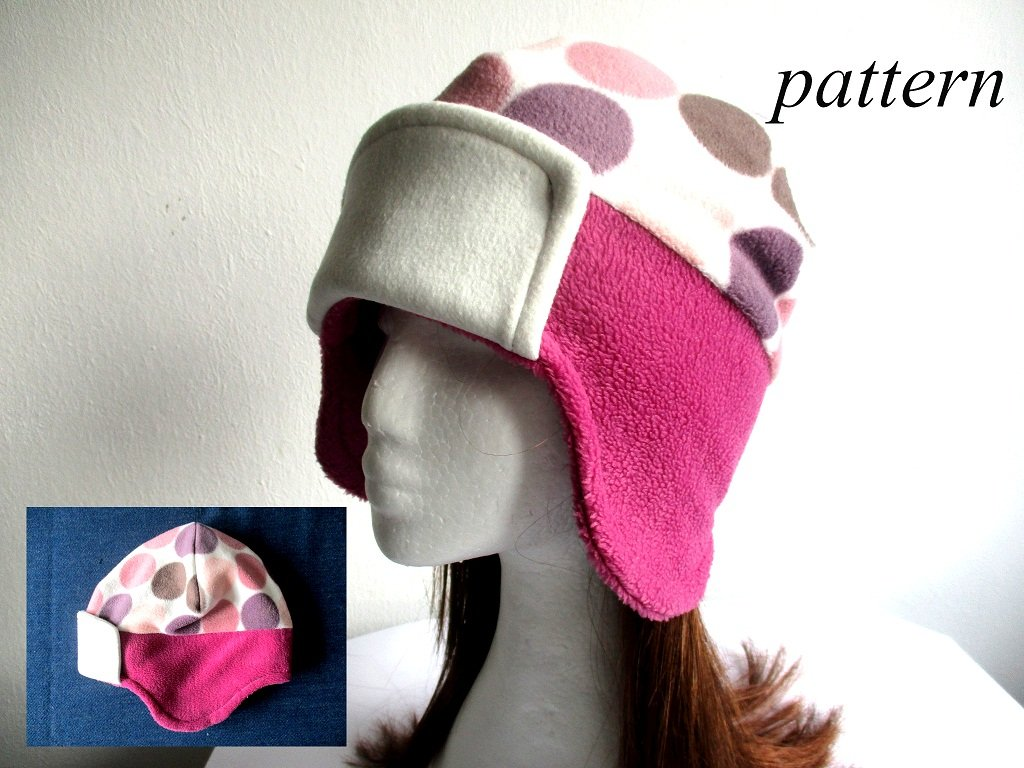 lined winter fleece earflap beanie /soft and warm chemo hat, pdf sewing pattern and photo tutorial, baby to adult (10 sizes)