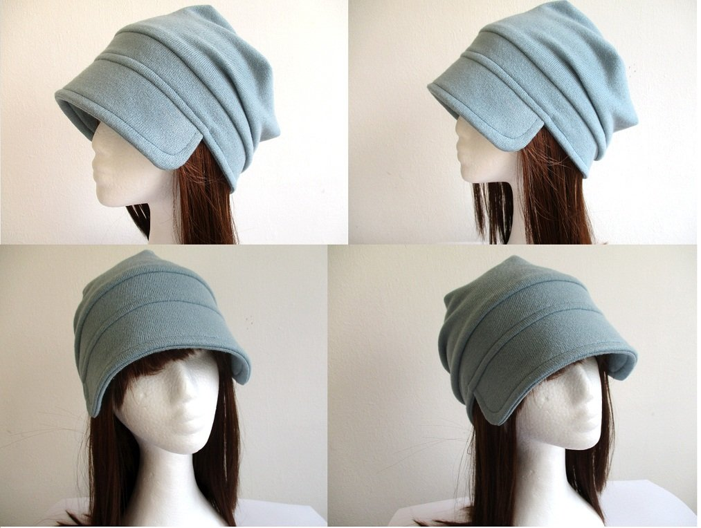 roll up visor single layer jersey beanie / unlined soft chemo hat / brim summer-fall cap, pdf sewing pattern and photo tutorial, adult to child, (6 sizes)