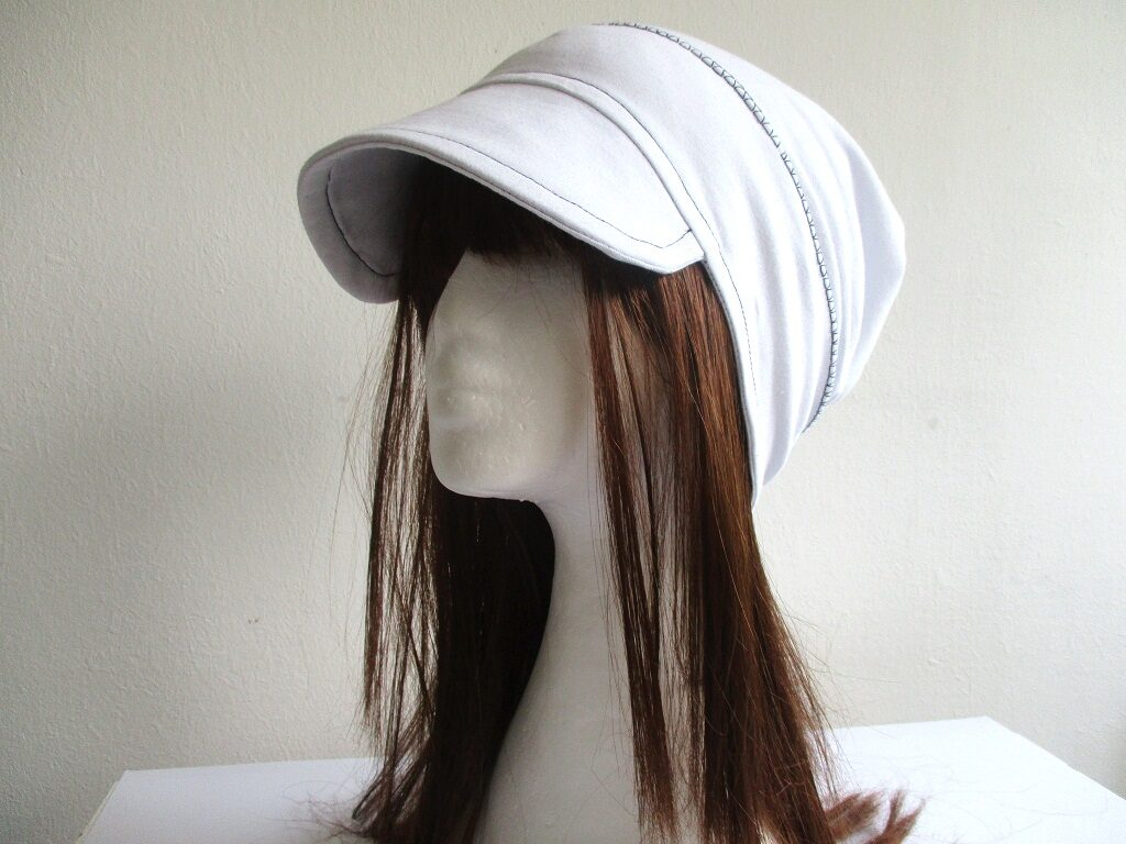 single layer jersey beanie with visor and gathered top in white for chemo, pdf sewing pattern + photo tutorial, adult to baby, (10 sizes)