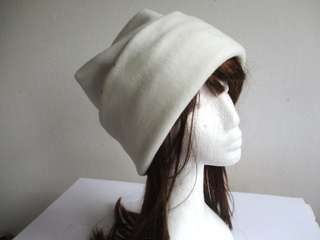 winter fleece beanie with wide roll-up cuff in white, pdf sewing pattern + photo tutorial, for woman and girl, (5 sizes)