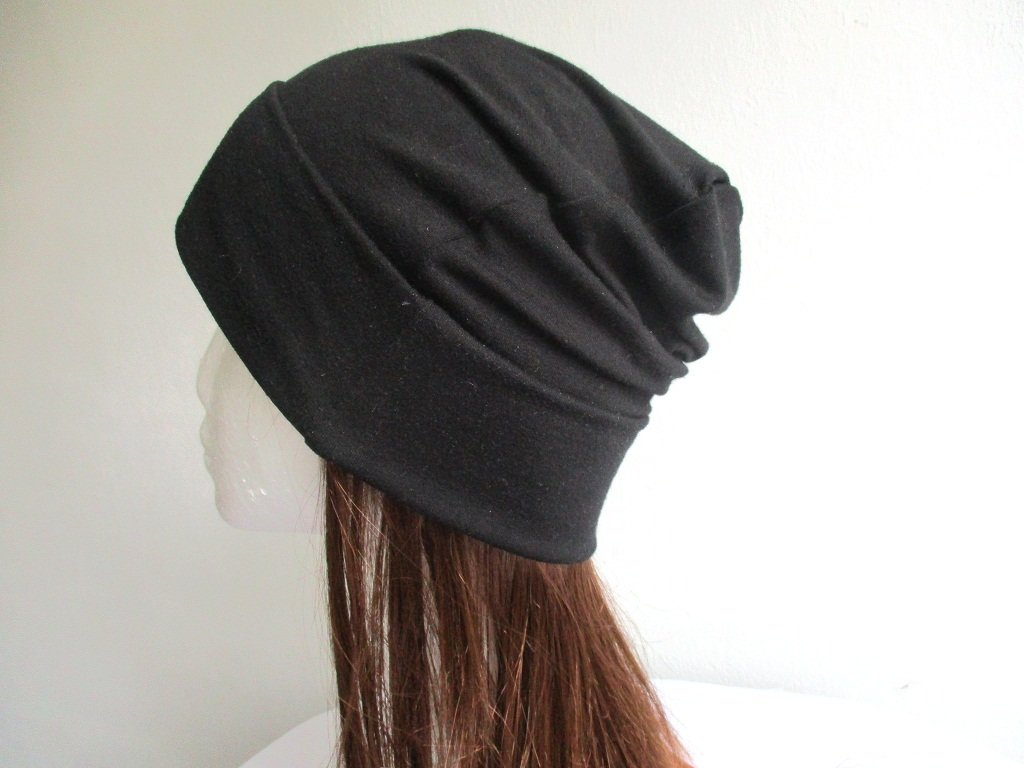 soft jersey fabric summer beanie / single layer chemo head cover / slouchy bad hair day cap / hat with roll up cuff, pdf sewing pattern and photo tutorial, adult to baby, (8 sizes)