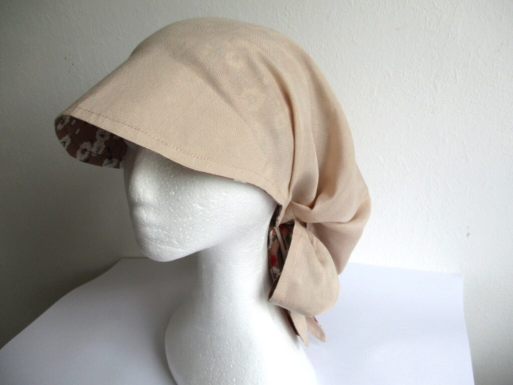 reversible chemo bandana hat/ summer visor scarf/ pleated sun kerchief, sewing pattern PDF + photo tutorial, for woman and girl, (S, M, L, XL sizes)