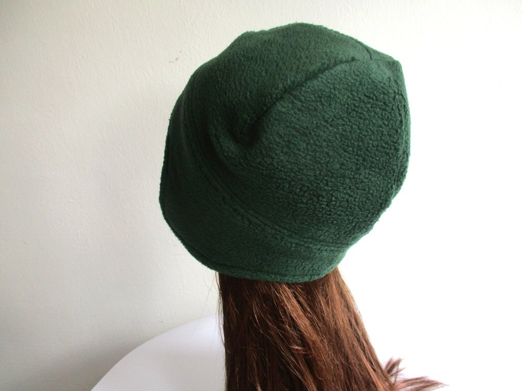 fleece earflap beanie with jersey fabric lining in green, pdf sewing pattern + photo tutorial, adult to baby (10 sizes)