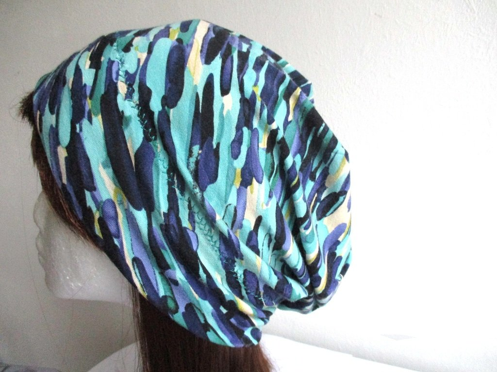 oversize slouchy summer soft lightweight jersey beanie / single layer simple hat, pdf sewing pattern and photo tutorial, adult to toddler, (6 sizes)