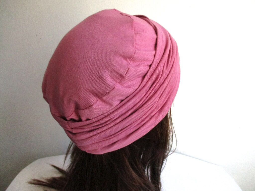 turban-style hat 2 pcs set/  reversible jersey hat and headband, sewing pattern PDF (6 sizes) + photo tutorial, for woman and girl