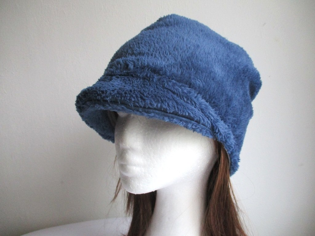 winter jersey-lined minky fleece slouchy visor beanie, newsboy chemo cancer hat, pdf sewing pattern and photo tutorial, adult to baby (10 sizes)