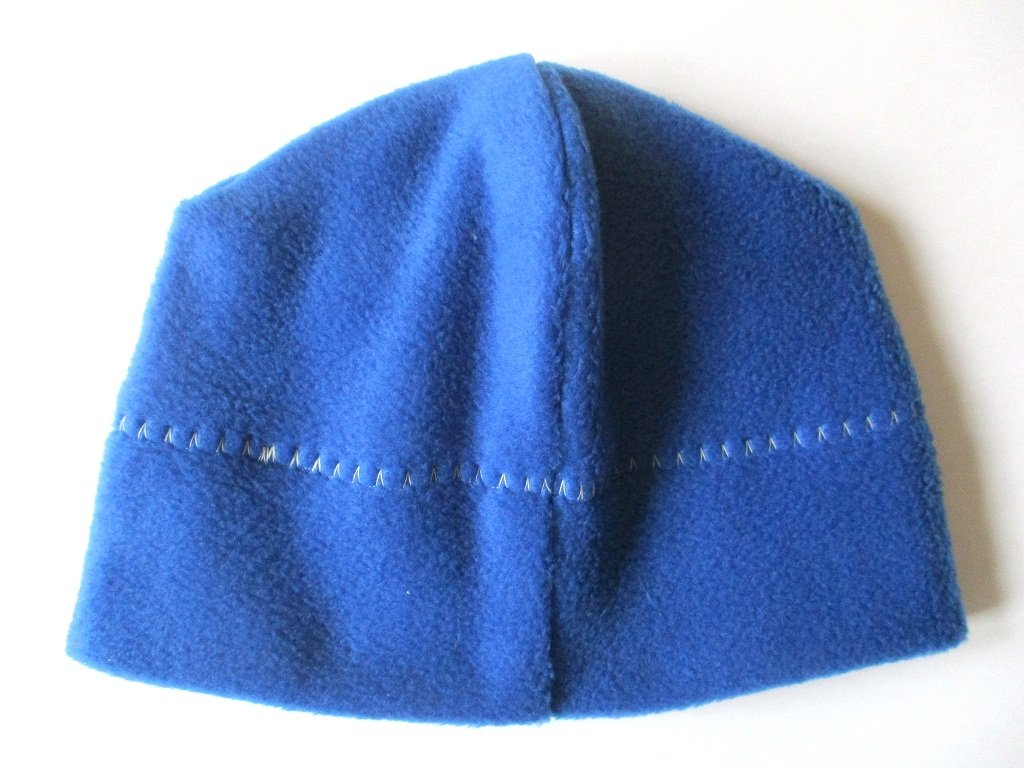 single layer classic outdoor stretch fleece beanie hat in blue, pdf sewing pattern + photo tutorial, adult to baby, (10 sizes)