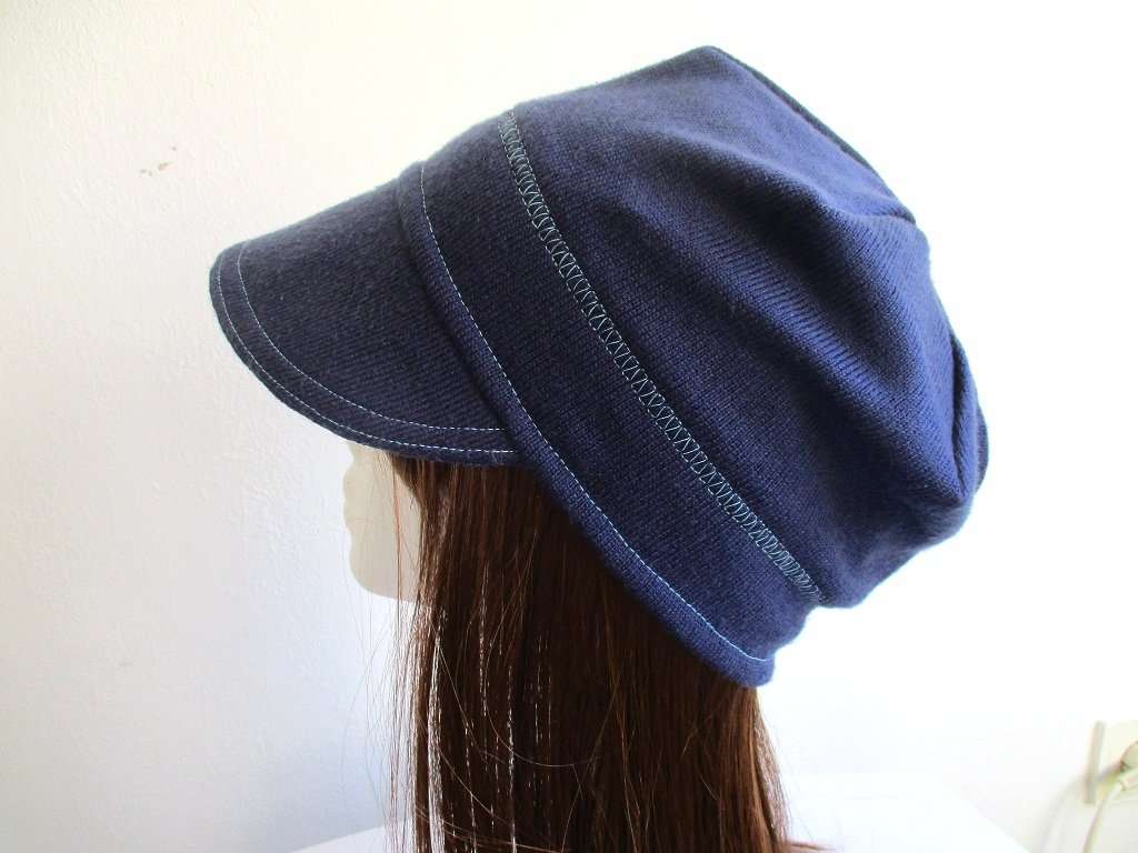unlined summer newsboy jersey beanie / single layer visor hat / soft chemo brim cap, pdf sewing pattern and photo tutorial, adult to child, (6 sizes)