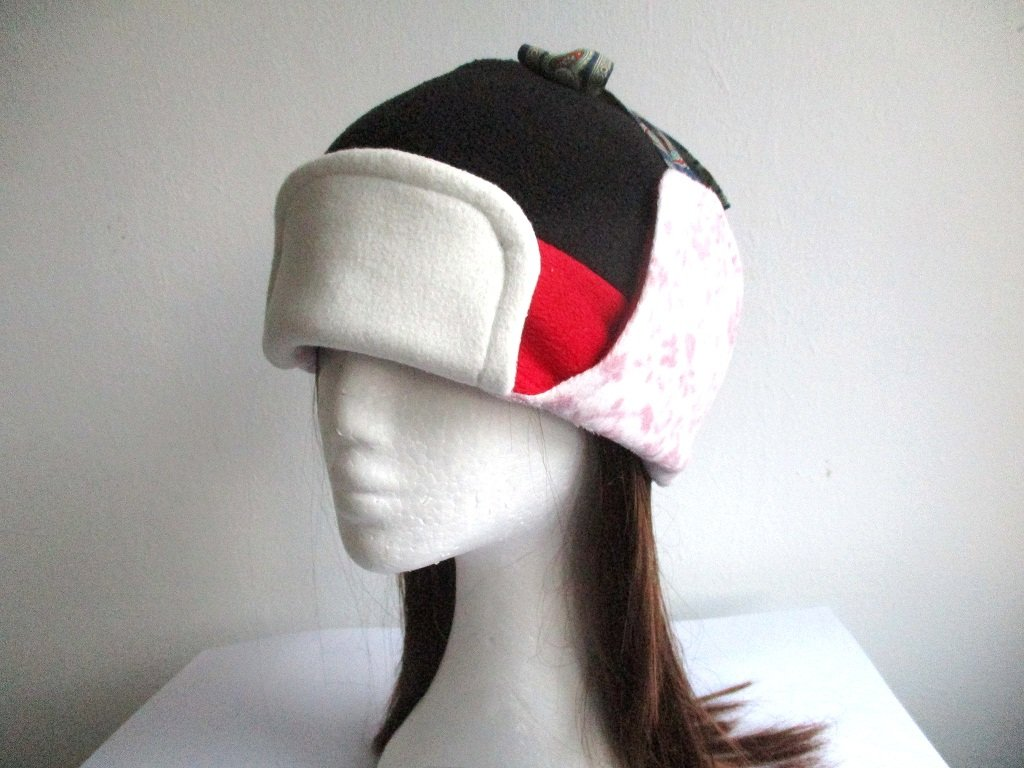 double layer fleece trapper (aviator, earflap, ushanka, bomber) hat for winter, pdf sewing pattern and photo tutorial, baby to adult (9 sizes)