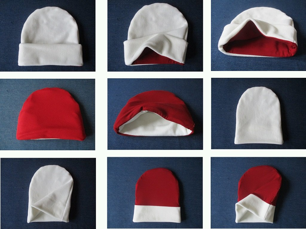 winter jersey-lined fleece beanie hat with roll-up cuff, pdf sewing pattern with a photo tutorial, adult to baby, (8 sizes)