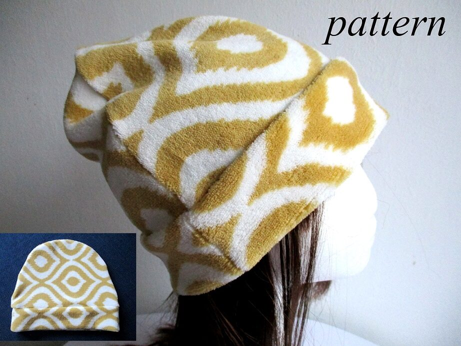 slouchy fleece chemo beanie hat with sewn cuff, pdf sewing pattern + photo tutorial, for woman girl boy man, (8 sizes)