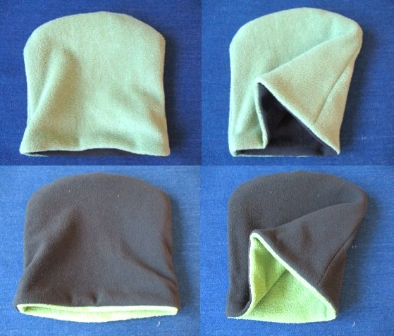 double layer reversible winter fleece square beanie / chemo hat / simple cap, pdf sewing pattern and photo tutorial, adult to child, (6 sizes)