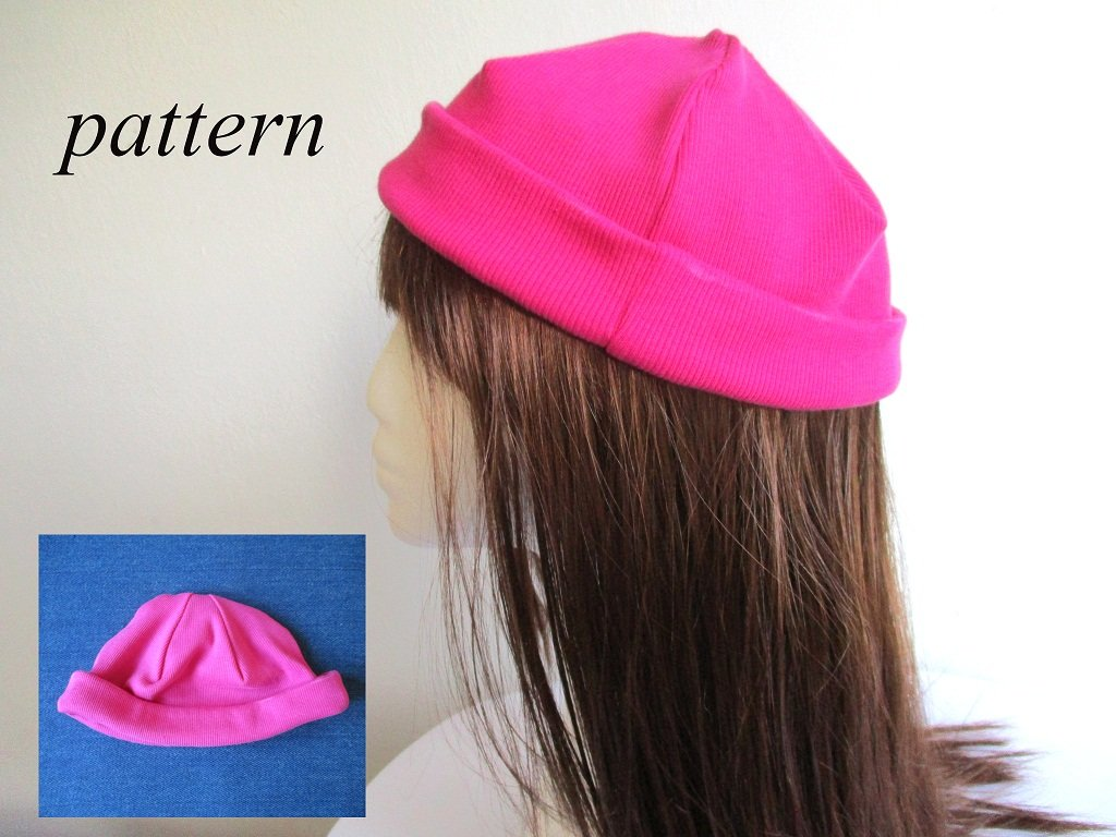 single layer mini jersey beanie wit roll up cuff / fisherman hat, pdf sewing pattern and photo tutorial, 6 sizes