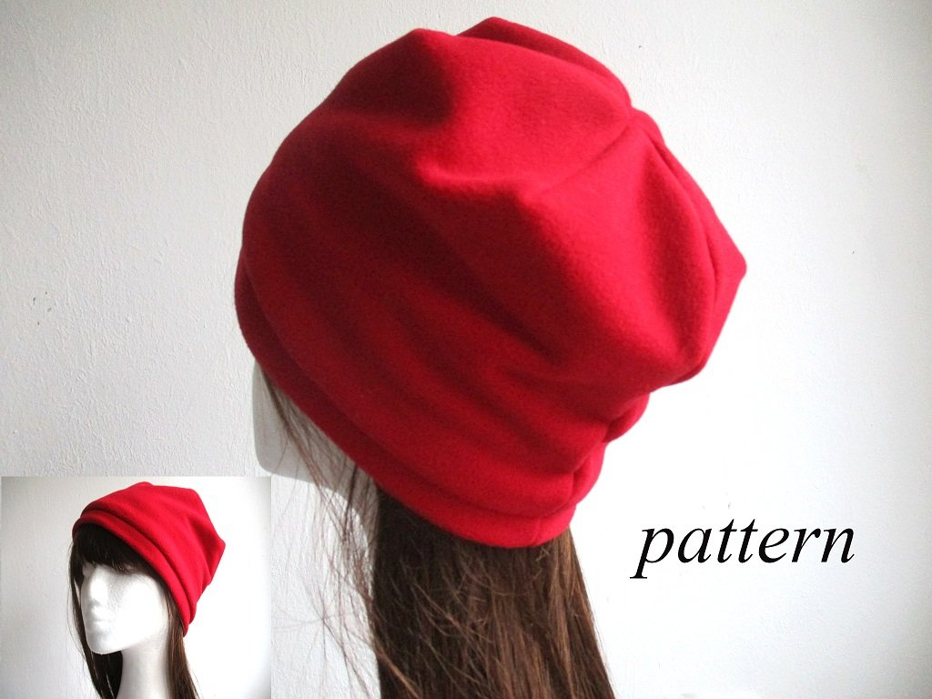 lined winter fleece beanie / cuffed soft cap / double layer chemo hat, pdf sewing pattern and photo tutorial, adult to child, (6 sizes)