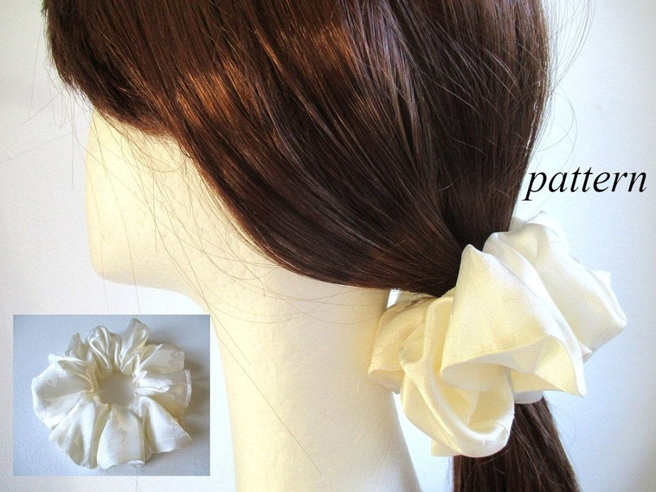 woman girl satin fabric ponytail holder/ hair scrunchie/ 80s 90s style hair wrap, pdf sewing pattern and photo tutorial, wide to narrow (4 sizes)