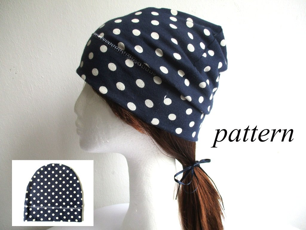 summer lightweight soft polka dot cotton jersey slouchy beanie/ single layer chemo headwear/ bad hair day hat, pdf sewing pattern and photo tutorial, adult to baby, (8 sizes)