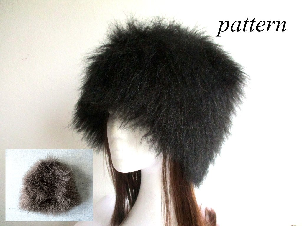winter faux fur beanie with fleece lining, chemo hat, hair loss cap, pdf sewing pattern and photo tutorial, adult to baby (10 sizes)