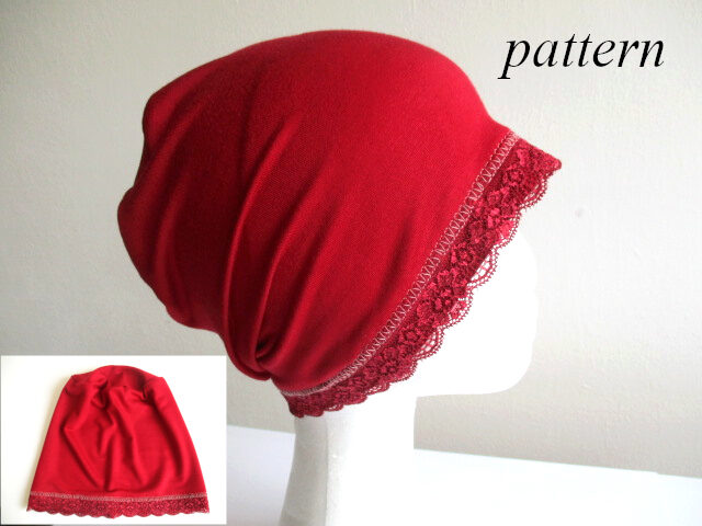jersey night sleep hat/ a chemo cap/ slouchy lace beanie, sewing pattern pdf + photo tutorial, for woman and girl, (10 sizes)