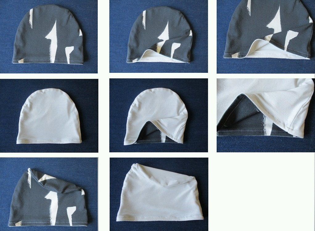 summer reversible jersey chemo beanie hat, pdf sewing pattern with a photo tutorial, adult to baby, (8 sizes)