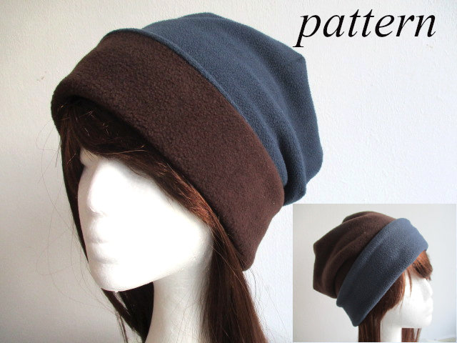 reversible cuffed winter fleece beanie / double layer chemo hat / soft cap, pdf sewing pattern and photo tutorial, adult to child, (6 sizes)