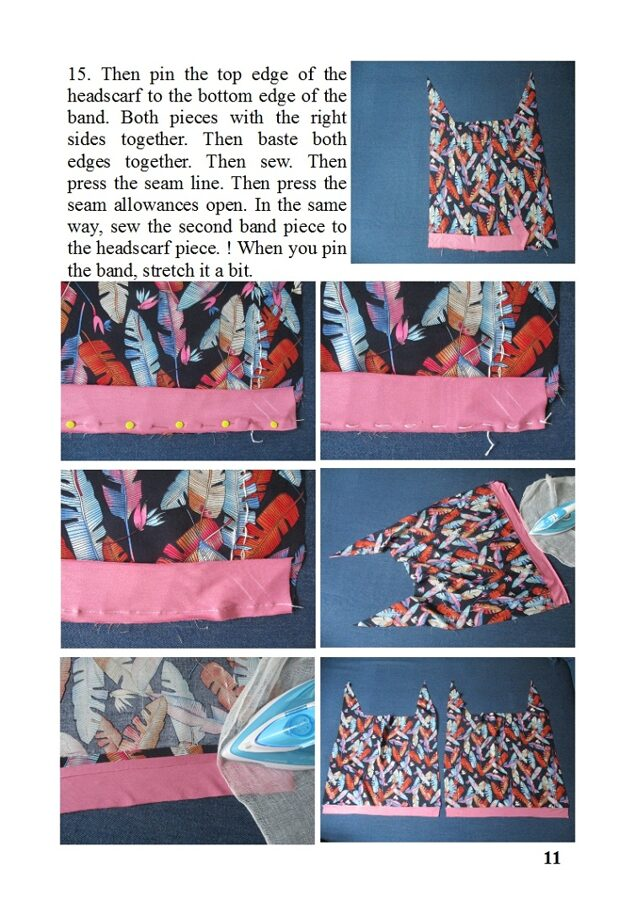 viscose/ rayon fabric chemo scarf in colored print, pdf sewing pattern + photo tutorial, women and girls, (S, M, L, XL sizes)