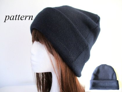 double layer winter fall spring watch jersey beanie hat, pdf sewing pattern with a photo tutorial, adult to baby (8 sizes)