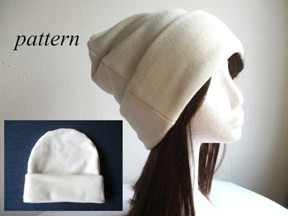 jersey-lined fleece beanie with roll-up cuff, multi-size pdf sewing pattern with a photo tutorial, adult to baby sizes