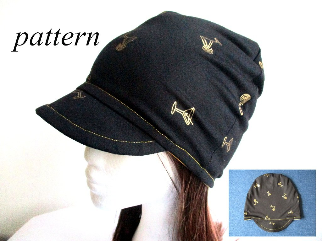 double layer jersey brim/ visor summer beanie hat, pdf sewing pattern with a photo tutorial, adult to baby, (8 sizes)