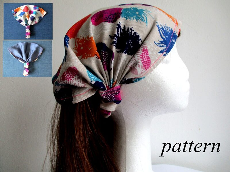 summer headband/ reversible wide hair wrap with elastic, sewing pattern pdf + photo tutorial, for woman and girl, (7 sizes)