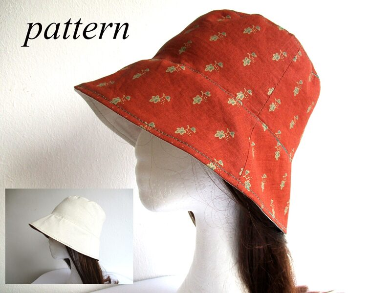 summer cotton bucket hat/ reversible sun head cover/ wide brim beach head wear, sewing pattern PDF + photo tutorial, for adult and child, (7 sizes)