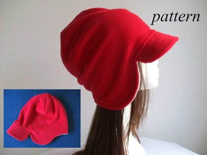 winter reversible earflap fleece beanie, double layer slouchy hat, pdf sewing pattern and photo tutorial, baby to adult (10 sizes)