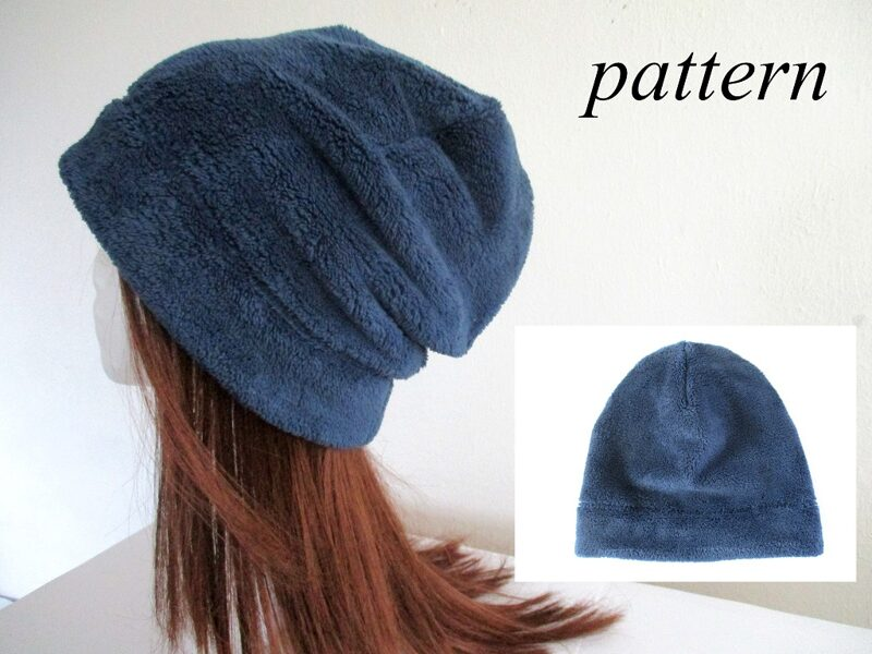 minky fleece slouchy beanie/ winter chemo hat/ one layer hair loss cap, sewing pattern pdf + photo tutorial, for woman girl kid man, (10 sizes)