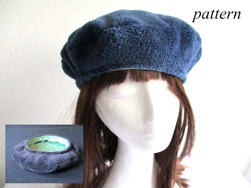 French-style beret/ minky fleece hat/ lined winter cap, sewing pattern pdf + photo tutorial, for woman and girl, (6 sizes)