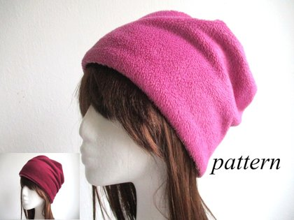 double layer winter fleece beanie/ reversible chemo hat/ warm cancer cap, pdf sewing pattern and photo tutorial, adult to child, (6 sizes)