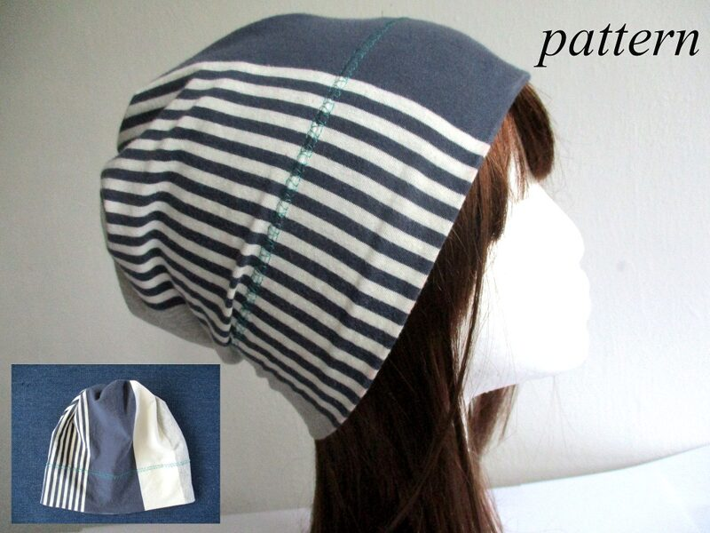 cotton jersey chemo cancer headcover with gathered top in stripes, pdf sewing pattern + photo tutorial, adult to baby, (10 sizes)